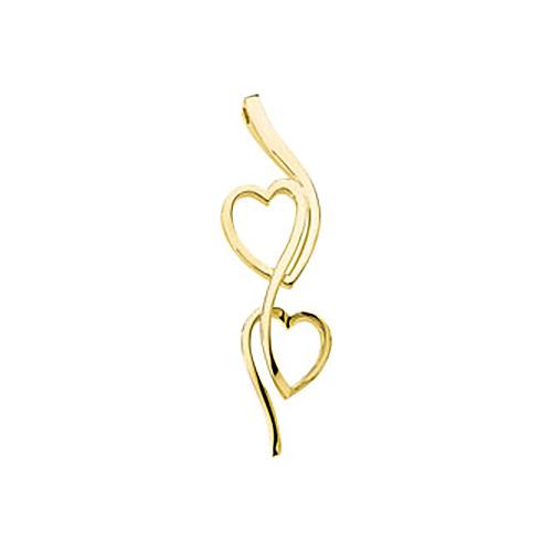 2 3/8in Double Heart Vertical Pendant