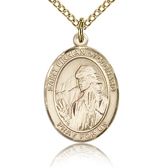 Gold Filled 3/4in St Finnian Medal & 18in Chain
