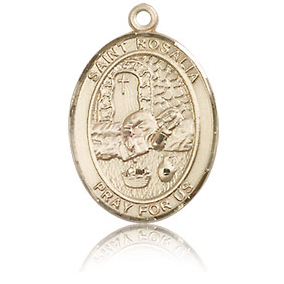 14kt Yellow Gold 3/4in St Rosalia Medal