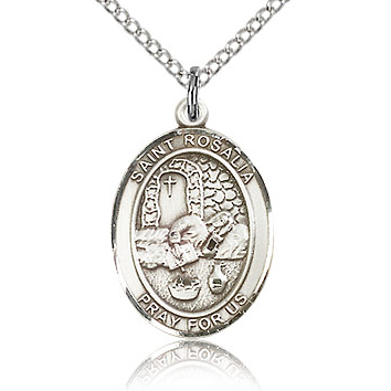 Sterling Silver 3/4in St Rosalia Medal & 18in Chain