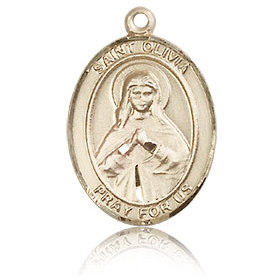 14kt Yellow Gold 3/4in St Olivia Medal