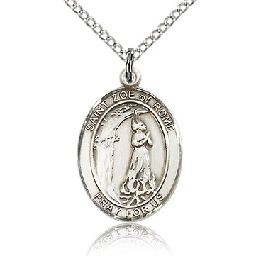 Sterling Silver 3/4in St Zoe of Rome Medal & 18in Chain