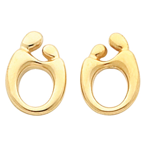 14k Yellow Gold Mother and Child Post Earrings