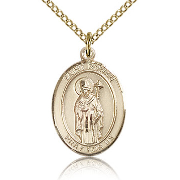 Gold Filled 3/4in St Ronan Medal & 18in Chain