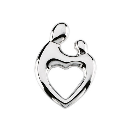 14kt White Gold 3/4in Mother & Child Hollow Pendant