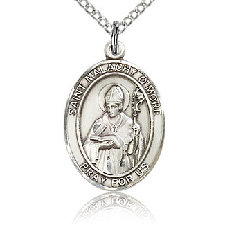 Sterling Silver 3/4in St Malachy O'More Medal & 18in Chain