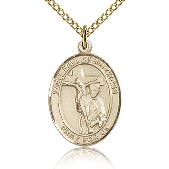 Gold Filled 3/4in St Paul of the Cross Medal & 18in Chain