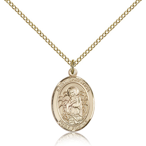 Gold Filled 3/4in St Christina Medal & 18in Chain
