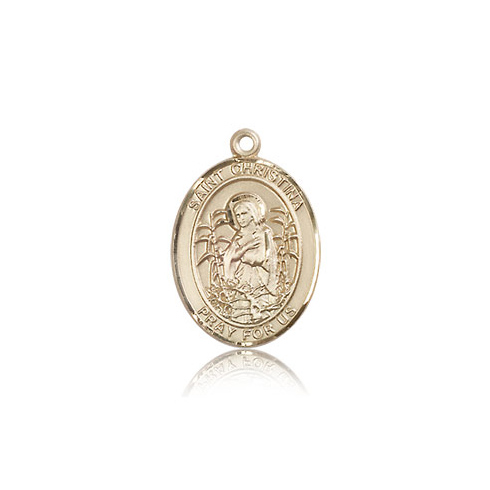 14kt Yellow Gold 3/4in St Christina Medal