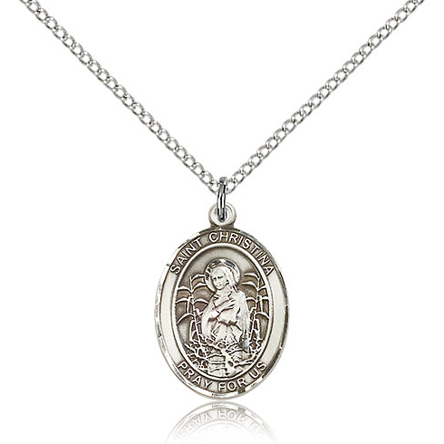 Sterling Silver 3/4in St Christina Medal & 18in Chain