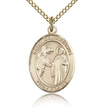 Gold Filled 3/4in St Columbanus Medal & 18in Chain