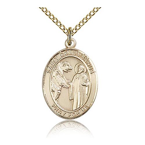 Gold Filled 3/4in St Columbanus Medal & 18in Chain