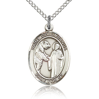 Sterling Silver 3/4in St Columbanus Medal & 18in Chain