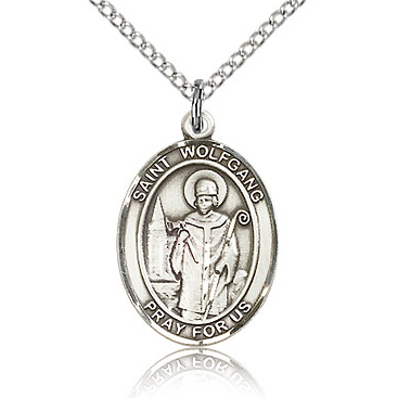 Sterling Silver 3/4in St Wolfgang Medal & 18in Chain