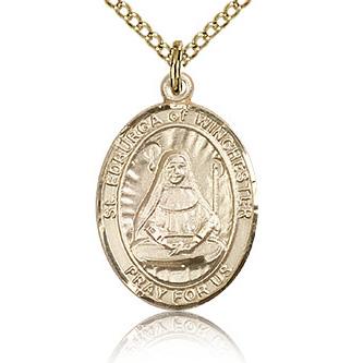 Gold Filled 3/4in St Edburga Medal & 18in Chain