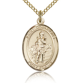 Gold Filled 3/4in St Cornelius Medal & 18in Chain