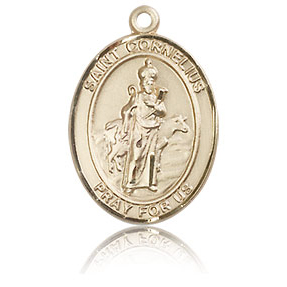 14kt Yellow Gold 3/4in St Cornelius Medal
