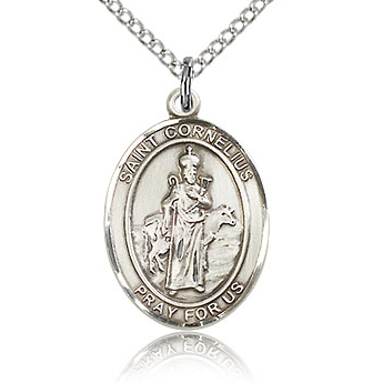 Sterling Silver 3/4in St Cornelius Medal & 18in Chain