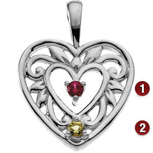 Floral Heart Sterling Silver Mother's Pendant