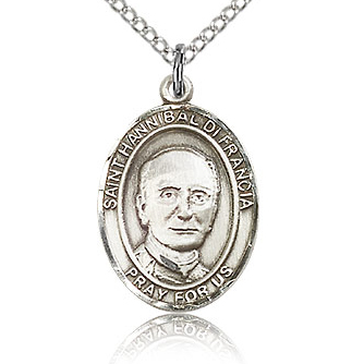 Sterling Silver 3/4in St Hannibal Medal & 18in Chain