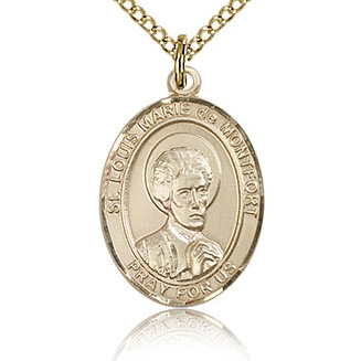 Gold Filled 3/4in St Louis de Montfort Medal & 18in Chain