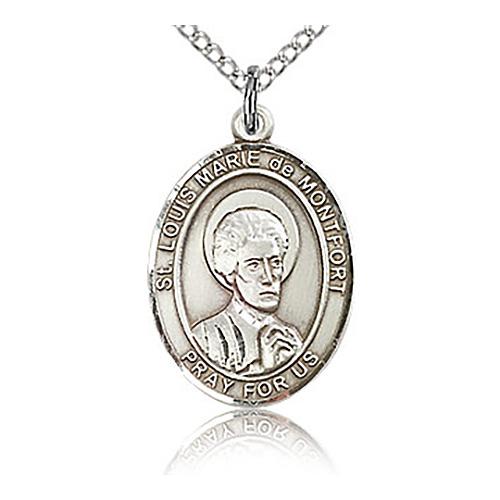 Sterling Silver 3/4in St Louis de Montfort Medal & 18in Chain