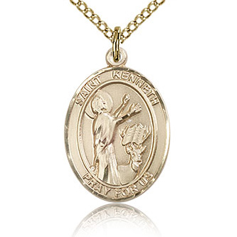 Gold Filled 3/4in St Kenneth Medal & 18in Chain
