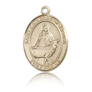 14kt Yellow Gold 3/4in St Catherine of Sweden Medal