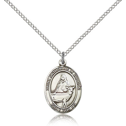 Sterling Silver 3/4in St Catherine of Sweden Medal & 18in Chain