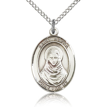 Sterling Silver 3/4in St Rafka Medal & 18in Chain