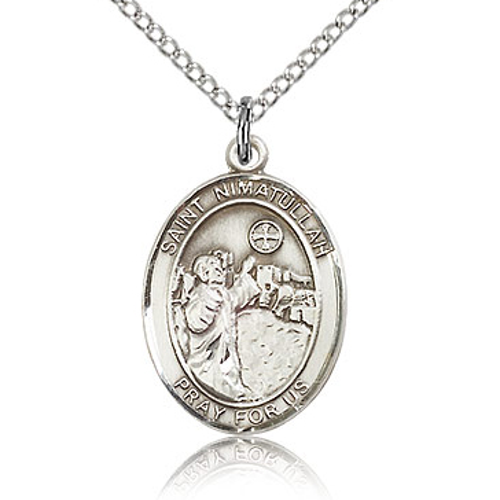 Sterling Silver 3/4in St Nimatullah Medal & 18in Chain
