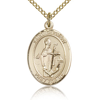 Gold Filled 3/4in St Clement Medal & 18in Chain