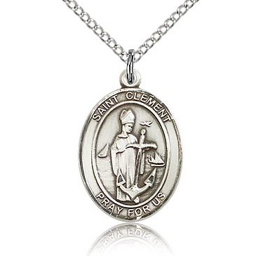 Sterling Silver 3/4in St Clement Medal & 18in Chain