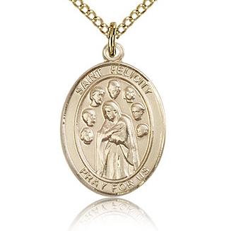 Gold Filled 3/4in St Felicity Medal & 18in Chain