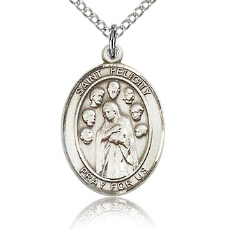 Sterling Silver 3/4in St Felicity Medal & 18in Chain