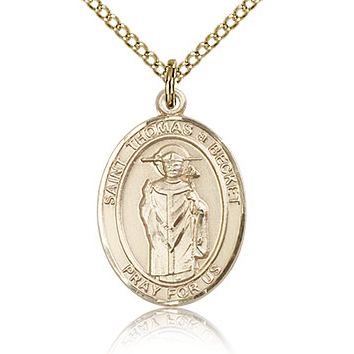 Gold Filled 3/4in St Thomas A Becket Medal & 18in Chain