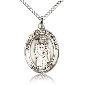 Sterling Silver 3/4in St Thomas A Becket Medal & 18in Chain
