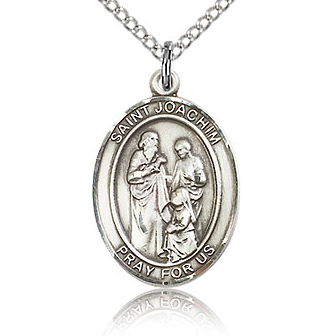 Sterling Silver 3/4in St Joachim Medal & 18in Chain