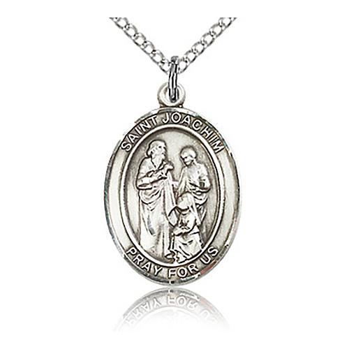 Sterling Silver 3/4in St Joachim Medal & 18in Chain