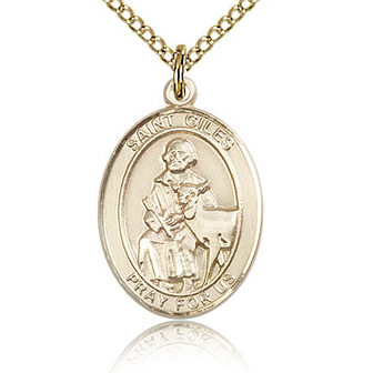 Gold Filled 3/4in St Giles Medal & 18in Chain
