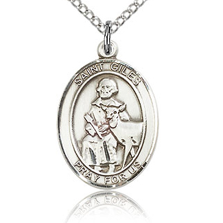 Sterling Silver 3/4in St Giles Medal & 18in Chain