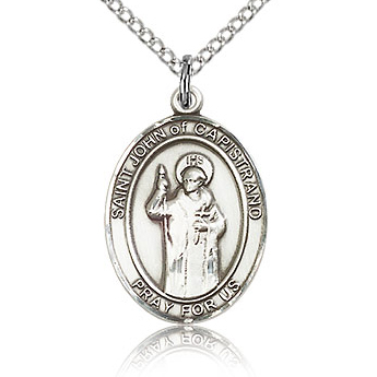 Sterling Silver 3/4in St John of Capistrano Medal & 18in Chain