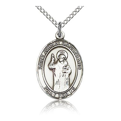 Sterling Silver 3/4in St John of Capistrano Medal & 18in Chain