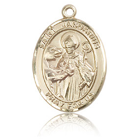 14kt Yellow Gold 3/4in St Januarius Medal