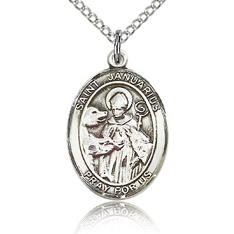 Sterling Silver 3/4in St Januarius Medal & 18in Chain