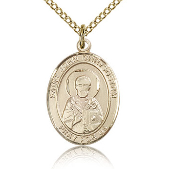 Gold Filled 3/4in St John Chrysostom Medal & 18in Chain