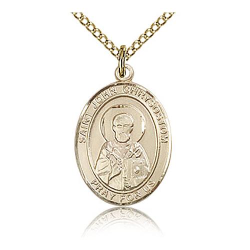 Gold Filled 3/4in St John Chrysostom Medal & 18in Chain