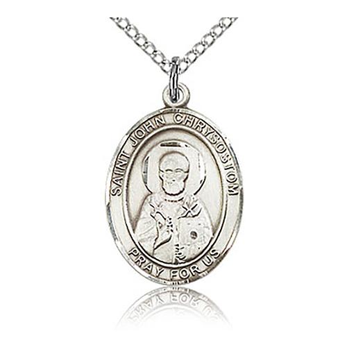 Sterling Silver 3/4in St John Chrysostom Medal & 18in Chain