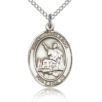 Sterling Silver 3/4in St John Licci Medal & 18in Chain