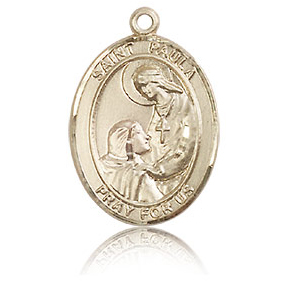 14kt Yellow Gold 3/4in St Paula Medal